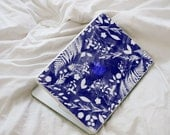 Blue Flower Macbook Decal - Royal Blue Sun Print and Porcelain Inspired MacBook Laptop Skin