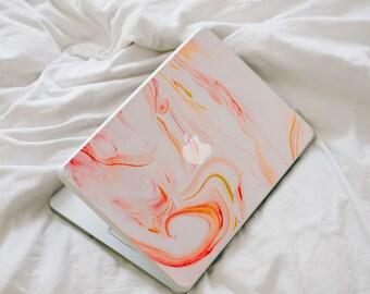 SALE!! Marble MacBook Decal - Orange and Red Swirl Vinyl Laptop Skin
