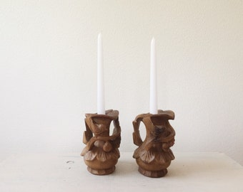 Carved Bird Wood candle holder