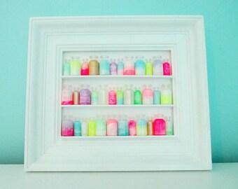 Neon Pastel Apothecary Display in Vintage White Frame Home Decor Art