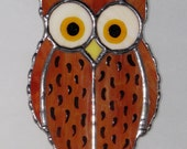Stained Glass Sun Catcher  - Spotted Owl, Barn Owl, Horned Owl, Original Design
