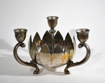 Old Silver Candlestick Holder Bowl Lotus Flower