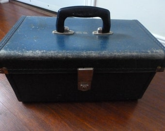 Vintage Suitcase in Navy Blue Small Vintage Suitcase Marvel Beauty School Suitcase