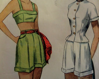 1949 Bra Top ~ Cuffed Shorts & Jacket Pattern ~ Simplicity 2825 Miss 16 Bust 36. 40's PIN-UP GIRL Summer Outfit Pattern at WhiletheCatNaps