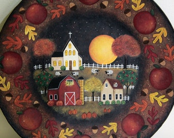Halloween Folk Art Hand Painted Wood Plate, Primitive Country Fall Scene, Saltbox House, Red Barn, Church, Apple, Sheep, Moon, Made to Order