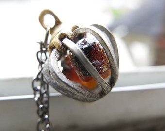 Amber Crystal Inspirational Necklace Jewelry Mom Gemstone New Mom Cage Jewellery Healing Teething Brown Stones Raw Rough Honey fossil Tree