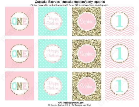 One First Birthday girl coral pink mint gold PRINTABLE