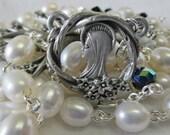 Handmade Catholic Rosary, Cultured Freshwater Pearls, Pewter Dogwood Tree of Life Center and Crucifix Set