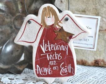 Vet Tech / Veterinary Assistant Gift Ornament Salt Dough Angel