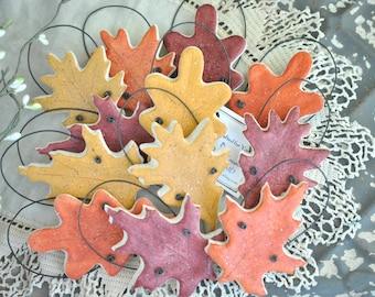 Fall Wedding Favors Autumn Leaves Set of 10 Salt Dough Ornaments / Napkin Rings
