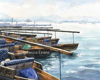 Illustration art print of Chinese Fishing Boats 13x19