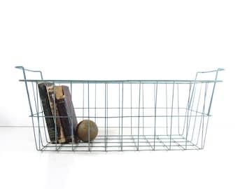 Vintage Metal Wire Basket / Industrial Storage