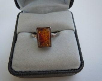 Vintage Sterling Amber Ring Size  7.75