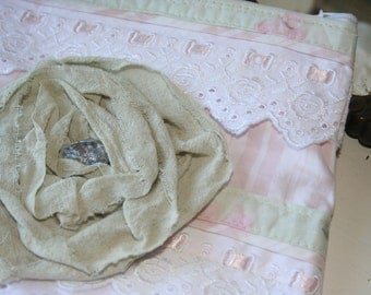 Shabby chic pouch Makeup bag Shabby french Pouch zippered bag