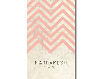 Custom Chevron Business Card Template, Double sided card design, Printable business card, distressed cream and you choose color