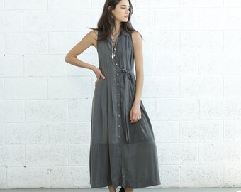 SALE Pleated Maxi Dress With Tie front