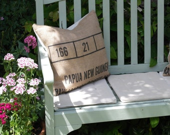 "Coffee Sack Hessian Shabby Chic Cushion Scatter Cushion Pillow 18"" Includes Duck Feather Pad"