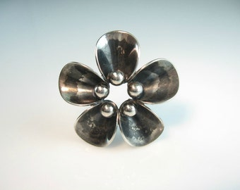 Scandinavian Jewelry. Silver Flower Brooch. Denmark Sterling by N. E. From. Modernist Flower Pin. 1950s Vintage Mid Century