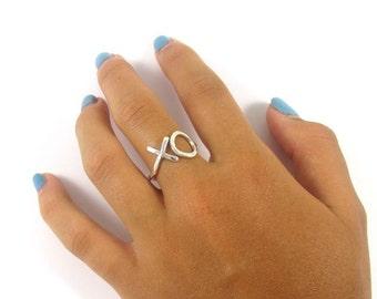 Sterling Silver XO Ring, Love, Sweetheart, Anniversary, Hammered,Textured, Handmade, Bridal Jewelry, Bridesmaid Gift Idea, Hug Kiss, Boho