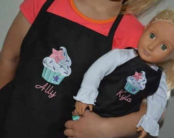 Matching Kids and American Girl, 18 inch doll apron set
