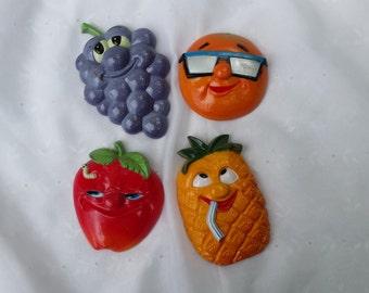 Set of Four Vintage Super Cool Fruit Magnets Office Paper Magnets