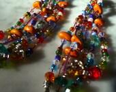 Long beaded earring indian  gypsy like free shipping
