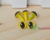 9mm Yellow Cat Eyes / Plastic Eyes - 10 Pairs