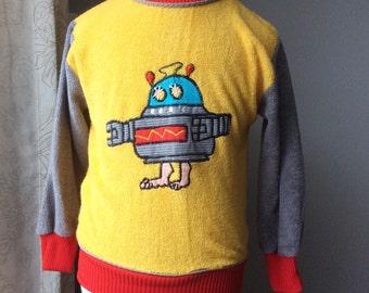 Vintage robot terry cloth sweatshirt 3T