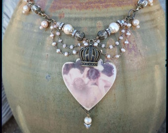 Image Transfer Crystal Pearl Necklace