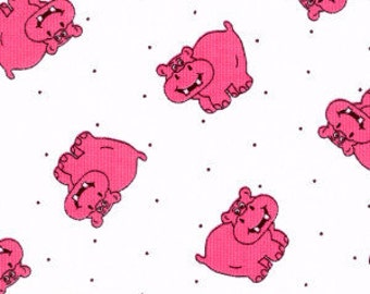 "Pink Hippos on White Cotton Pique  - Cotton Pique Fabric - 60"" Wide - by the Half Yard"