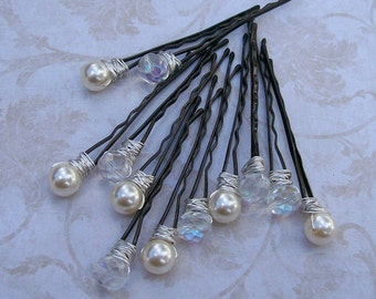 Swarovski Pearl and Czech AB Crystal Hair Pins - White or Cream Pearls - Set of 12
