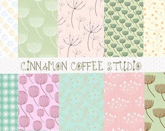 Cute Dandelion Digital Paper, Dandelion Backgrounds, Make a Wish Paper Pack, Pastel Dandelion Texture - set of 10