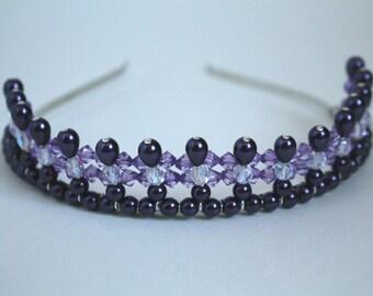 Dark Purple Princess Tiara, Birthday Tiara, Prom Tiara, Flower Girl Tiara