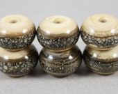 6 Ivory beads with silver-ivory trail (Item 15689F)