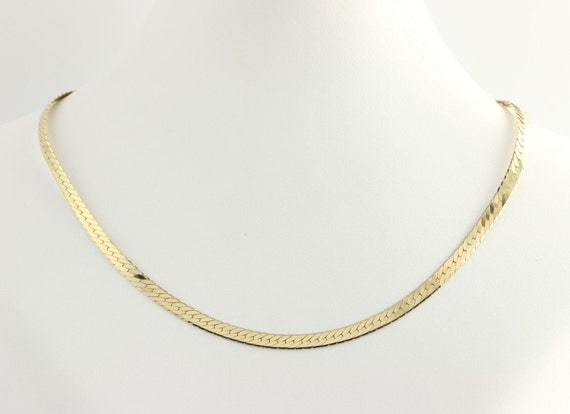 Herringbone chain necklace 24 quot 14k yellow gold polished italy flat 4