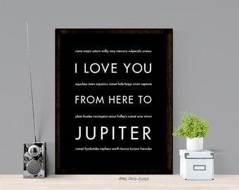 Planet Outer Space Art Print, I Love You From Here To JUPITER, Shown in Black