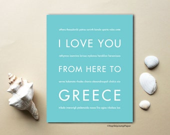 Greece Art Print, Anniversary Travel Gift Idea, I Love You From Here To GREECE, Shown in Robins Egg Blue, Gift for Men