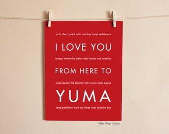 USMC Military Deployment, US Marine Corps, Gift for Parents, I Love You From Here To Yuma Shown in Scarlet Red, Military Retirement Art