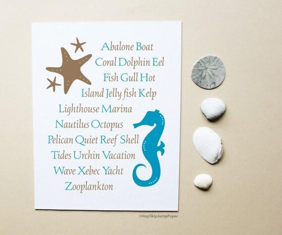Beach Alphabet Nursery Art Poster - Starfish Seahorse - Custom Colors - Kids Wall Art Room Decor Baby