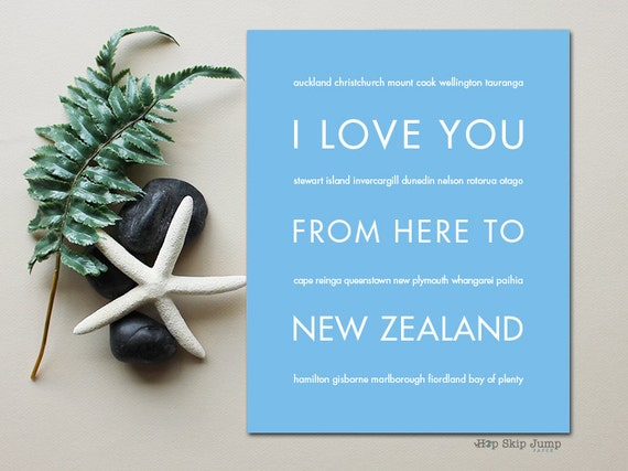 Gift for Men, New Zealand Travel Art, I Love You From Here To NEW ZEALAND, Shown in Light Blue - Choose Color, Canvas Poster