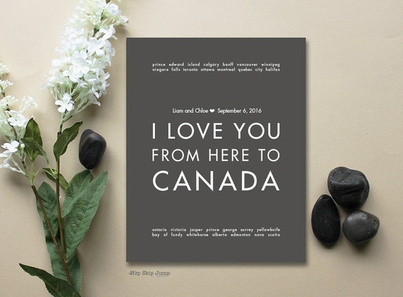 Canadian Wedding GiftArt Poster Print, Engagement Gift, Shown in ...