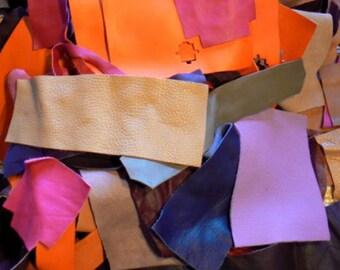 Genuine Leather(25-30pcs) Crafts/Scrap. Leather Pieces/remnants.Mixture.For accessories,jewelry,decorations,bracelets