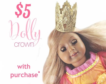 Buy any crown get a Dolly size Sienna crown for 5 dollars || mini gold lace crown || American Girl 18 inch doll || pet crown
