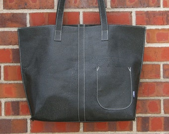 Black tote bag-large tote bag-tot-unique-beach bag-chic-rock n roll- gift-ready to ship-upcycled-cwinn designs-