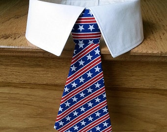 Red White and Blue Dog Tie and Collar, Stars and Stripes Dog Tie