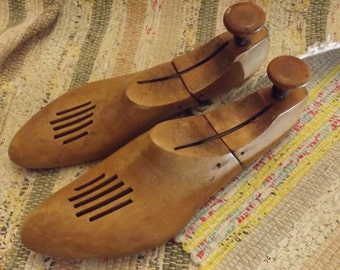 Pair Adorable Adult Size Wooden Antique Shoe Lasts