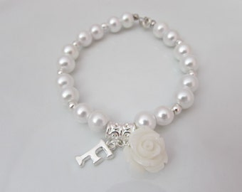 Pearl Bracelet, Bridal Rose Bracelet, Initial Bracelet, Bridesmaid Gifts, British Seller UK, Bridal Pearl Jewelry, UK Bridal Jewellery