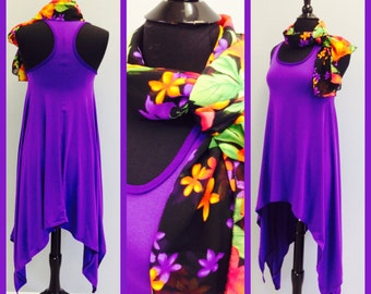 ACT FAST! Only one in my shop   Cute Purple Summer  Dress with  Summer Scarf  Summer dresses