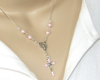 Catholic Necklace, Pink Pearls and Pink Crucifix, Fine Silver Ball Chain