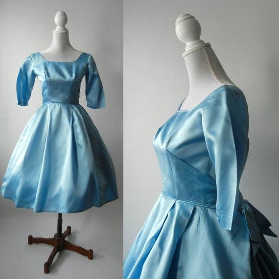 Vintage 50s Blue Dress, 1950s Vintage Satin Dress, Vintage Cocktail Dress, Vintage Bridesmaid Dress, Vintage Wedding Dress, Vintage Bridal
